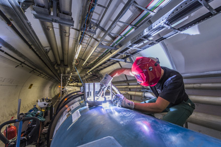Welding at the LHC tunnel during the first Long Shutdown (LS1).