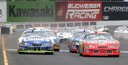 Sprint Cup Series race cars at Sonoma Raceway in June of 2005.