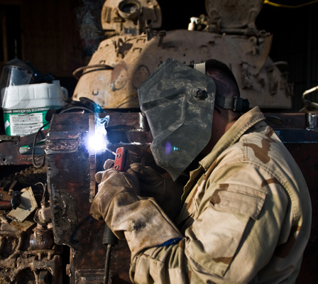 Veterans are excellent job candidates because they have a great work ethic and understand the importance of teamwork and safety. Some, like this US Army soldier welding a tank in Iraq, have valuable welding experience.