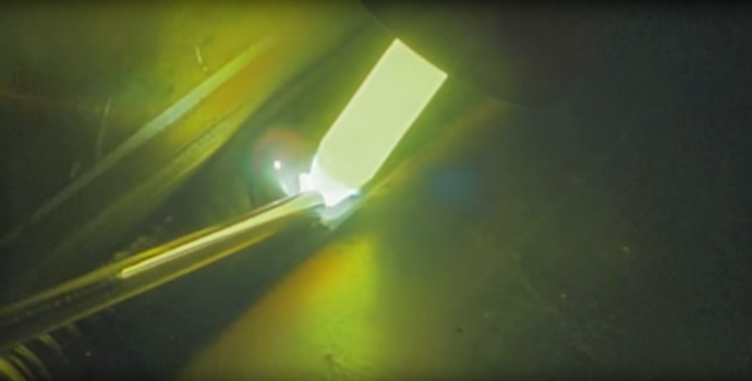 Tungsten Arc Welding on Copper. Screen shot of video footage shot with a Visible Welding UDR-V2014-C Color weld video system.