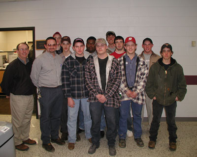 Doug Thompson (2nd from left) with AWS Virginia Section 179 Chairman, Bill Rhodes and some of his students