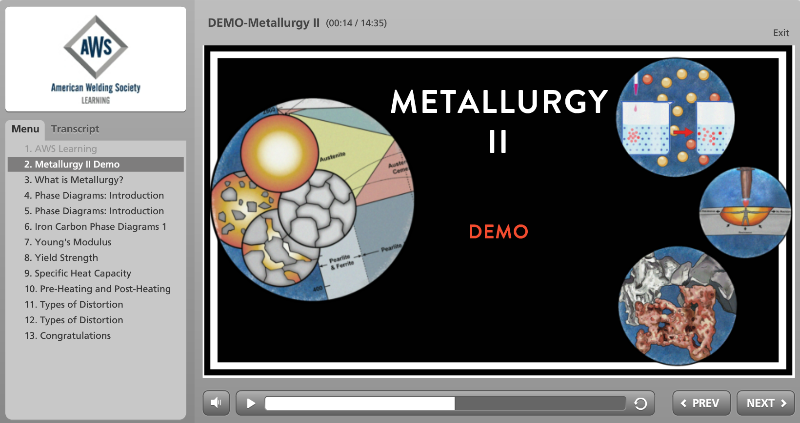 Aws Releases Two New Online Welding Courses American Diagram Of Metallurgy Ii Screenshot