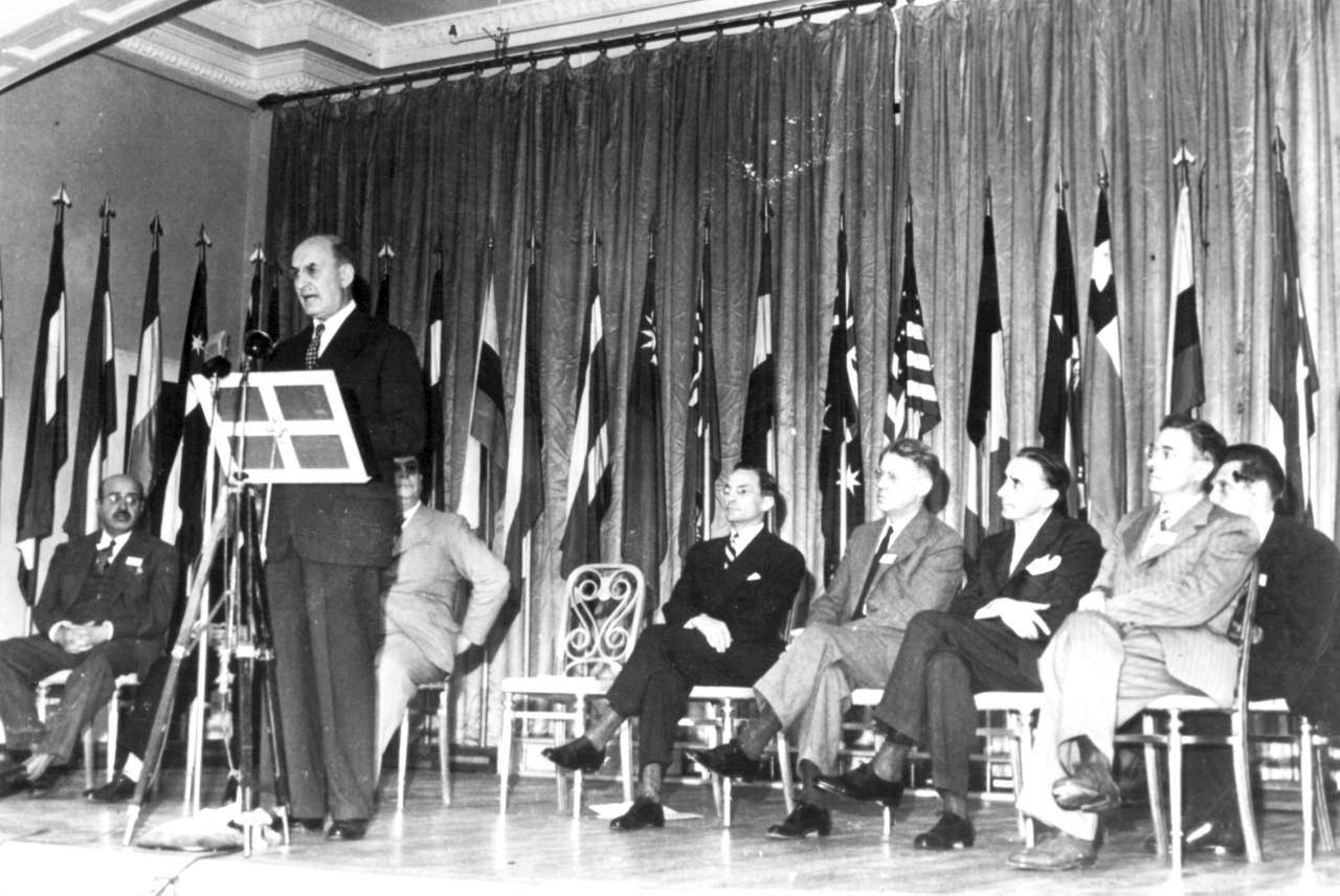 U.S. Secretary of the Treasury Henry Morgenthau addressed a session of the Bretton Woods Conference in 1944.