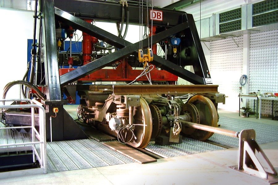 Rail vehicle roller rig designed to test for wear and rolling contact fatigue. Mobility Network Logistics